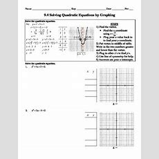 Holt Algebra 94 Solving Quadratic Equations By Graphing Worksheet  Doc & Pdf