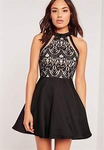 mesh stripe lace top skater dress black missguided With robe noire en dentelle