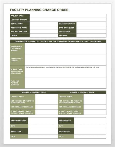 complete collection   change order forms smartsheet