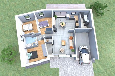 plan chambre 3d plan 3d d 39 une maison en v de plain pied avec 3 chambres