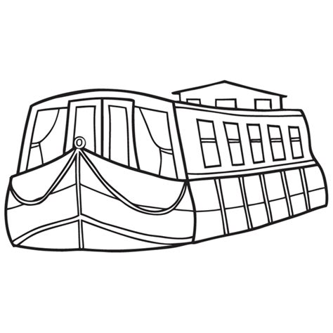 Outline Of Boat To Colour by Free Canal Boat Barge Coloring Pages