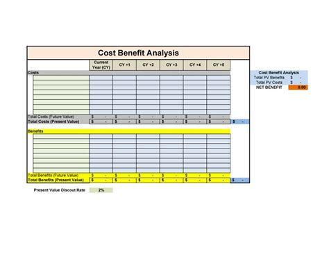 cost analysis template excel cost benefit analysis template excel template business