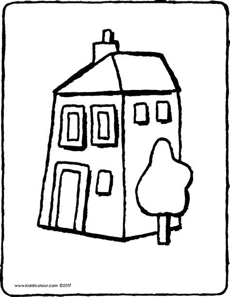 Kleurplaat Huis Met Klimop by Huis Kiddicolour