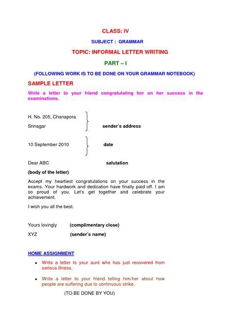 informal   letter sample english