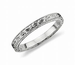 Hand engraved wedding ring in platinum blue nile for Engraved wedding ring