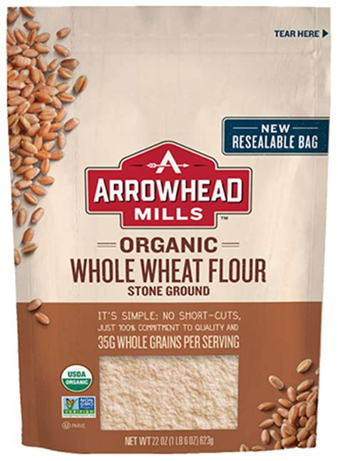 organic  wheat flour stone ground arrowhead mills