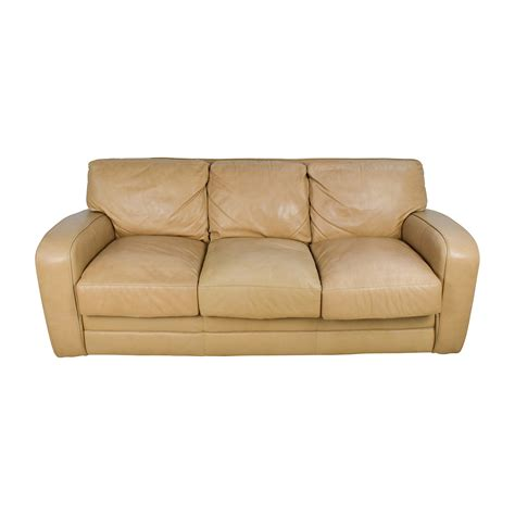 beige leather reclining sofa 78 off beige three seat leather sofa sofas