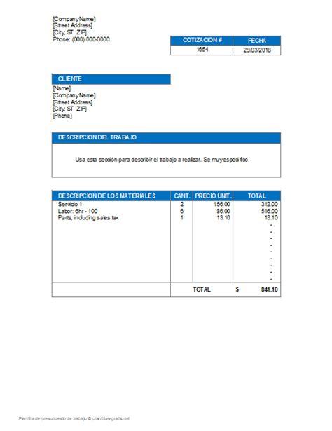 10 plantillas para elaborar presupuestos descarga gratis en documentos de word y excel