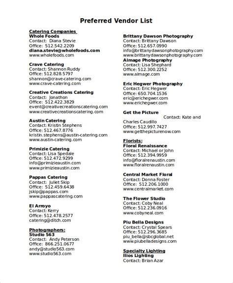Vendor List Template - 7+ Free Word, PDF Document ...