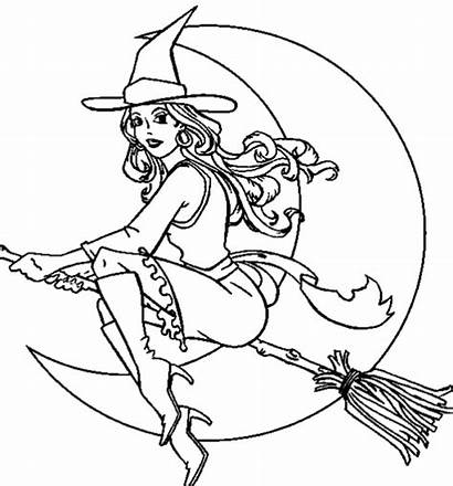Coloring Witch Pages Halloween Adult Realistic Printable