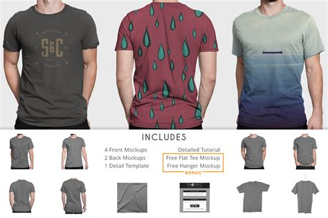 It includes realistic mockups and flat designs in different angles from frontal to perspective and isometric views. T-Shirt - Apparel Mockups ~ Product Mockups on Creative Market
