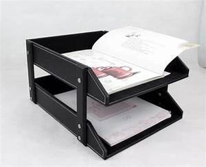 double layer pu leather office supplies a4 file holder With document shelf
