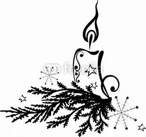 Weihnachtsmotive Schwarz Weiß : weihnachten advent tannenzweig kerze vector von christine krahl lizenzfreier vektor ~ Buech-reservation.com Haus und Dekorationen