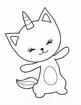 Coloring Pages Cat Caticorn Cute sketch template