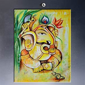 Online Buy Wholesale ganesha oil paintings from China ...