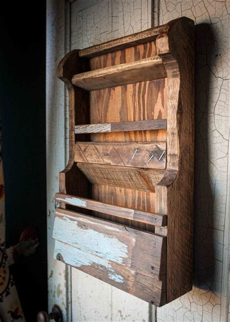 diy pallet wall file mail organizer  book rack
