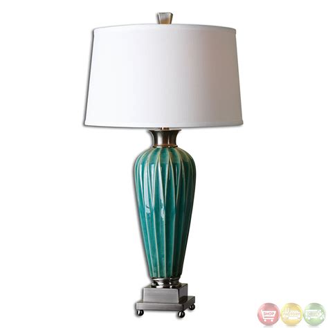 Bassett Furniture Bedroom by Bethune Distressed Blue Ceramic Table Lamp 27744