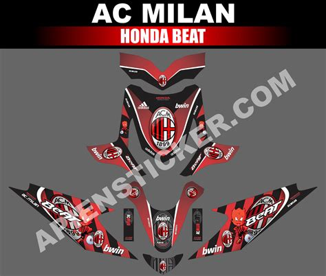 striping motor beat ac milan merah apien sticker