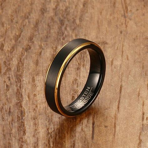 mprainbow mens rings tungsten steel black gold color stepped edges finish center rings for men