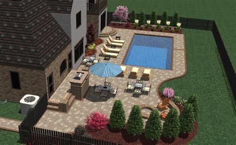 pool patio  furniture layout landscape designs