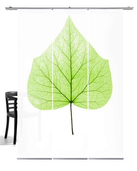 Lindenblatt grün Schiebegardine 3teiliges Set Grafics