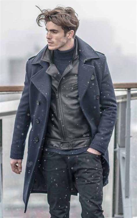 Menu0026#39;s Navy Overcoat Black Leather Biker Jacket Navy Turtleneck Black Jeans | Winter fashion ...
