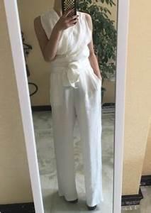 Pantalon De Soiree Chic : combinaison pantalon palazzo large avec noeud papillon l gant pour mariage blanche femme ~ Melissatoandfro.com Idées de Décoration