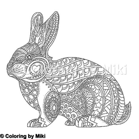 zentangle animal rabbit coloring page  coloring  miki