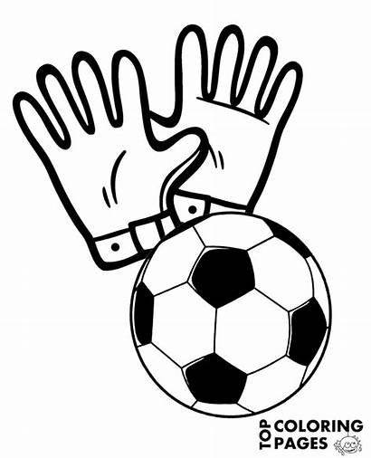 Gloves Football Ball Coloring Goalkeeper Pages Equipment