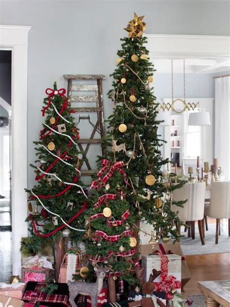 decorating a christmas tree how to decorate multiple christmas trees hgtv