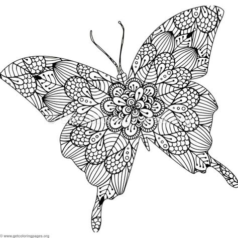 instant  zentangle butterfly coloring pages