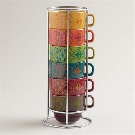Drink a cup of coffee or lemon tea in this geek freak styled ctrl alt delete cup. Romantic Floral Stacking Mugs, Set of 6 | Unique coffee mugs, Mugs, World market