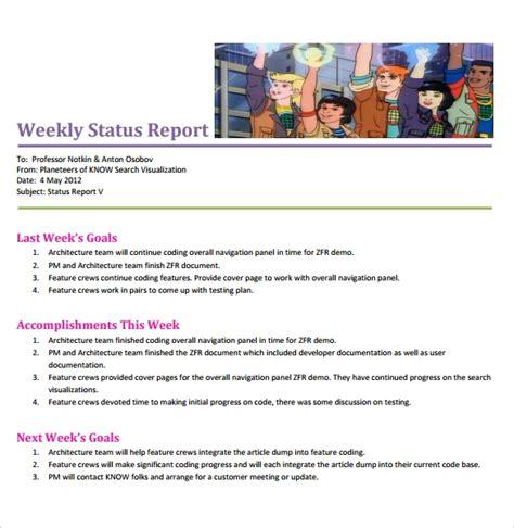 sample weekly status reports   ms word