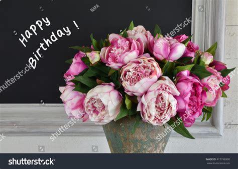 bouquet pink peony flowers frame chalk board stock photo