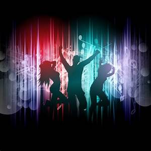 Silhouettes of people dancing on a music notes background ...