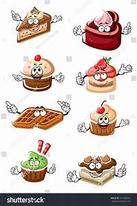Cartoon Delicious Funny Fruity Desserts Chocolate Stock ...