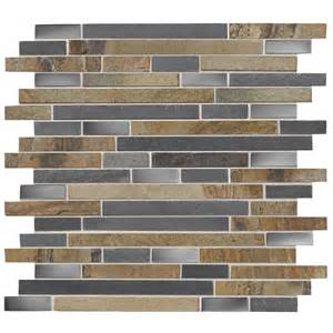 shop american olean delfino glass stainless mosaic glass metal wall tile common 12