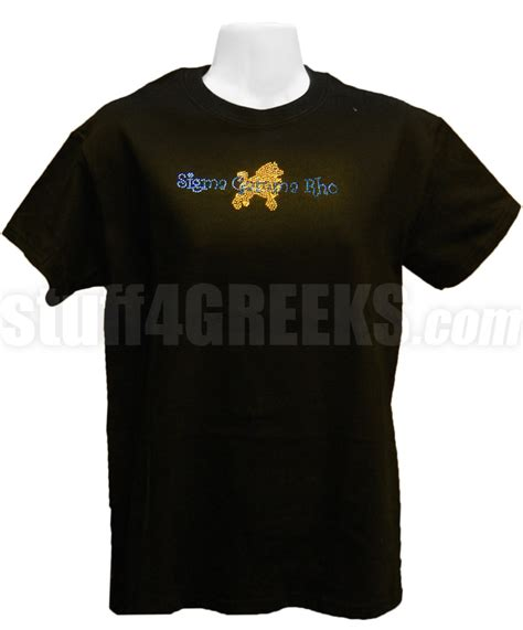 sigma gamma rho metallic stud t shirt with organization name and poodle black