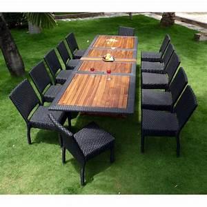 Table De Jardin Aluminium 12 Personnes : salon de jardin teck et resine tressee ensemble pour 12 ~ Edinachiropracticcenter.com Idées de Décoration