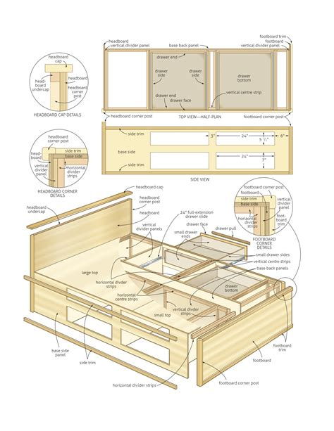 plans   king size platform bed  drawers leah