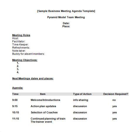 sample business meeting agenda templates