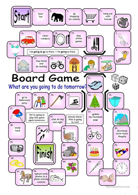 Board Game  What Are You Going To Do Tomorrow? Worksheet  Free Esl Printable Worksheets Made