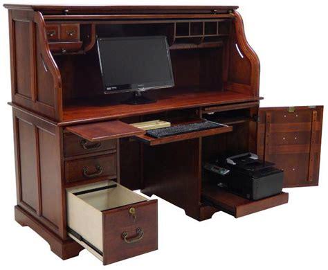 best home computer desk 59 quot w cherry roll top computer desk in stock