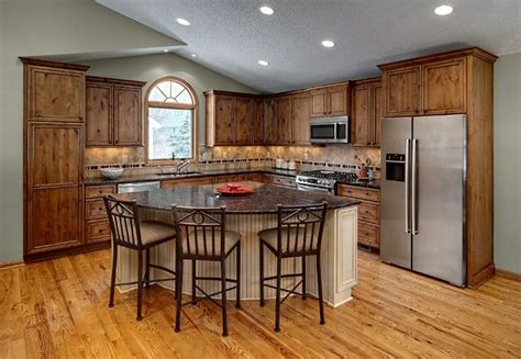 triangle design kitchens l shaped rustic kitchen with triangle island with seating 2937