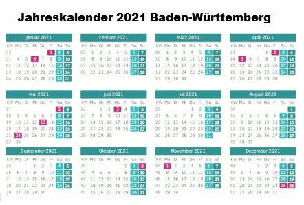 Hier finden sie die schulferien der volksschule. Kostenlos Druckbar Jahreskalender 2021 Baden-Württemberg ...