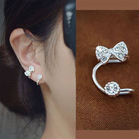 Ear Clip Bow And Rhinestone Ear Cuff Silver Single No