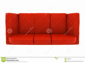 Red Leather Couch Isolated On White. Top View Stock ...