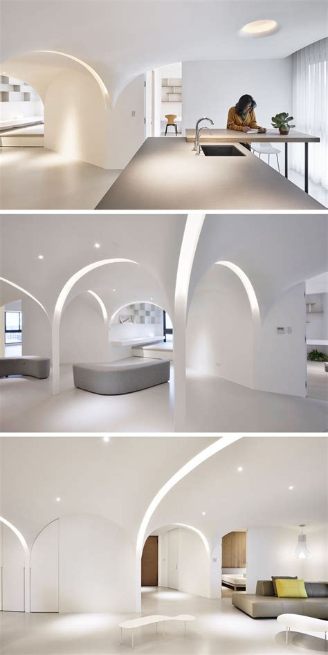 An Open Floorplan Highlights A Minimalist Design by This Minimalist Apartment Has Light Filled Arches