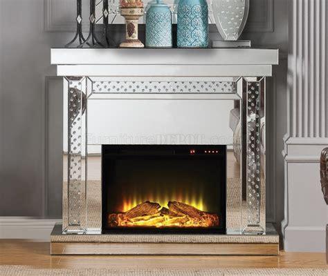 nysa fireplace   mirror  acme wadjustable
