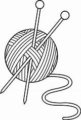 Knitting Clipart Needles Yarn Clip Drawing Line Wool Needle Thread Advertisement sketch template